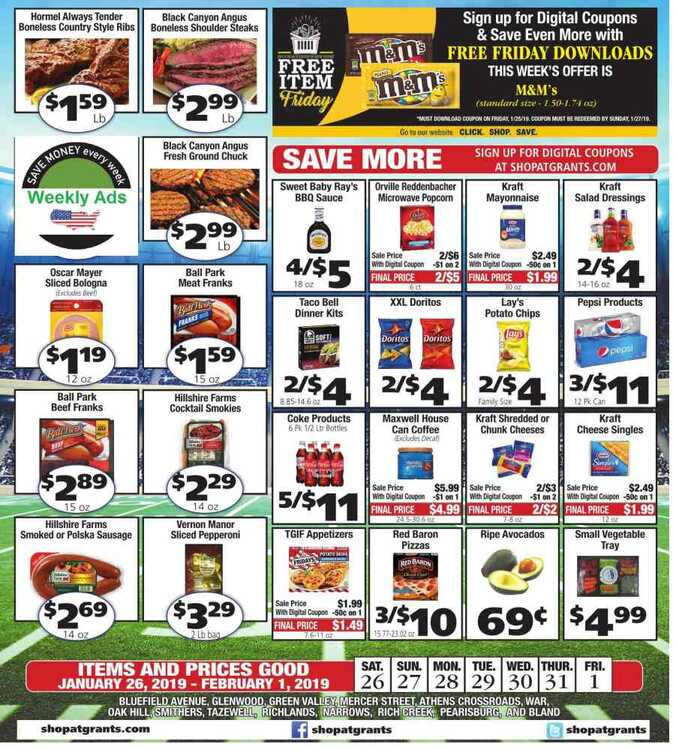 grant's supermarket weekly ad 1/29 to 2/1 2019